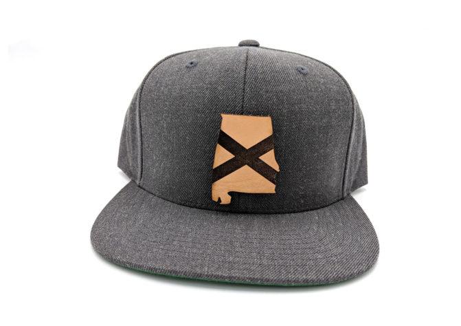 Alabama Flatbill Snapback Leather Patch Hat Dark Heather