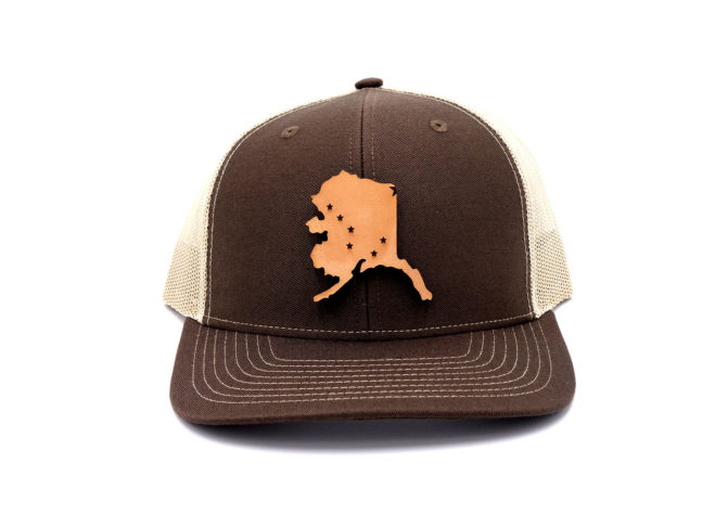 Alaska-Brown-Khaki-Trucker-State-Flag-Hat-Branded-Billed-Three-Thousand-Pennies