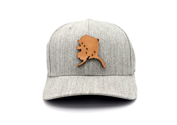 Alaska-Heather-Grey-Flexfit-State-Flag-Leather-Patch-Hat