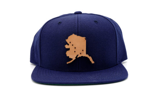 Alaska-Navy-Flatbill-Snapback-Leather-Patch-Hat