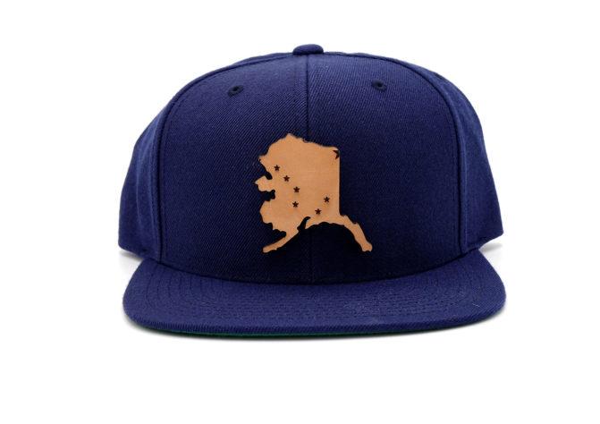 Alaska-Navy-Flatbill-Snapback-Leather-Patch-Hat