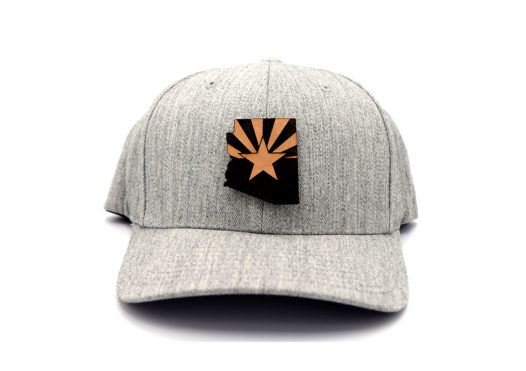 Arizona-Heather-Grey-Flexfit-State-Flag-Hat-Leather-Patch-Branded