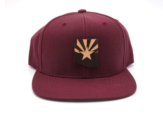 Arizona-Maroon-Flatbill-Snapback-Branded-Leather-Three-Thousand-Pennies-Hat