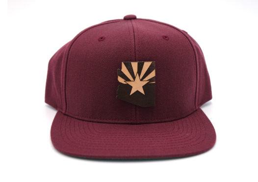 Arizona-Maroon-Flatbill-Snapback-Branded-Leather-Three-Thousand-Pennies-Hat