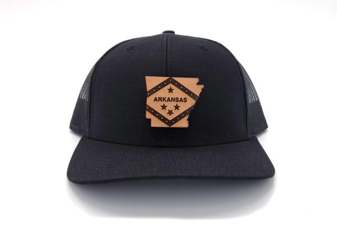 Arkansas-Black-Trucker-Leather-Patch-Hat