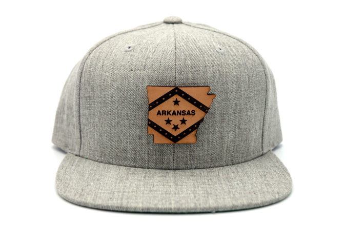 Arkansas-Heather-Grey-Flatbill-Snapback-Leather-Patch-State-Hat
