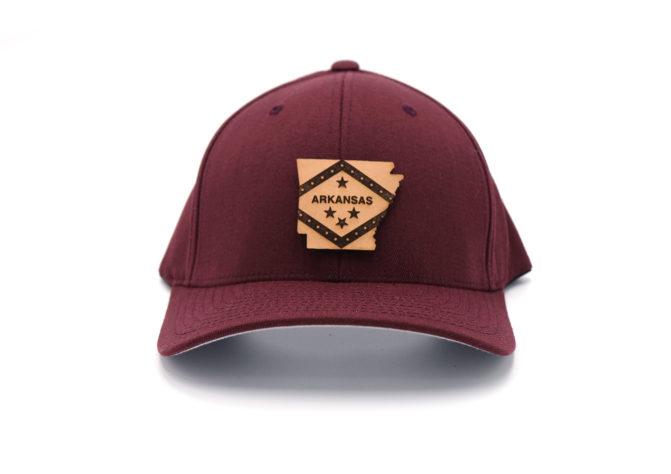 Arkansas-Maroon-Flexfit-Branded-Leather-State-Pride-Hat