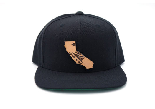 California-Black-Flatbill-Snapback-Leather-Patch-Hat-USA