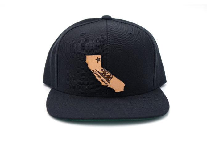 California-Black-Flatbill-Snapback-Leather-Patch-Hat-USA