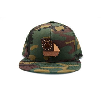 Camo Georgia Flatbill Snapback Leather Patch Hat