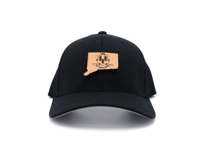 Connecticut-Black-Flexfit-Branded-Leather-Patch-Hat
