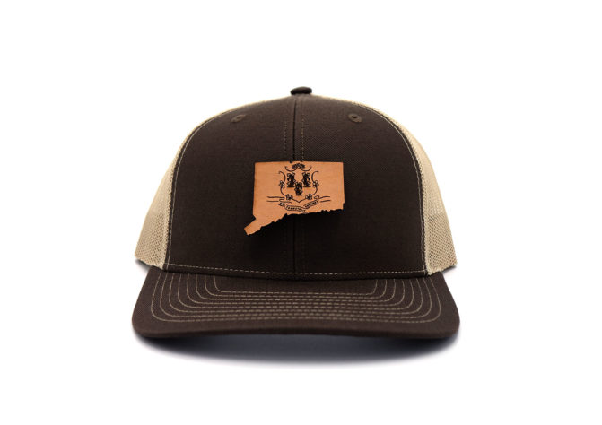Connecticut-Brown-Khaki-Branded-Leather-Patch-Hat