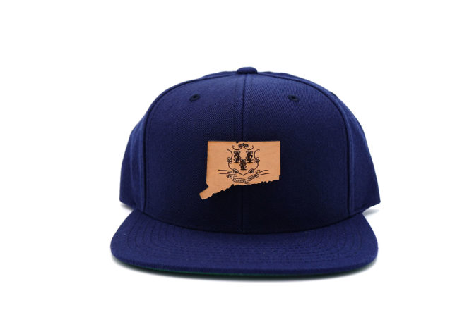 Connecticut-Navy-Flatbill-Snapback-Leather-Patch-Hat