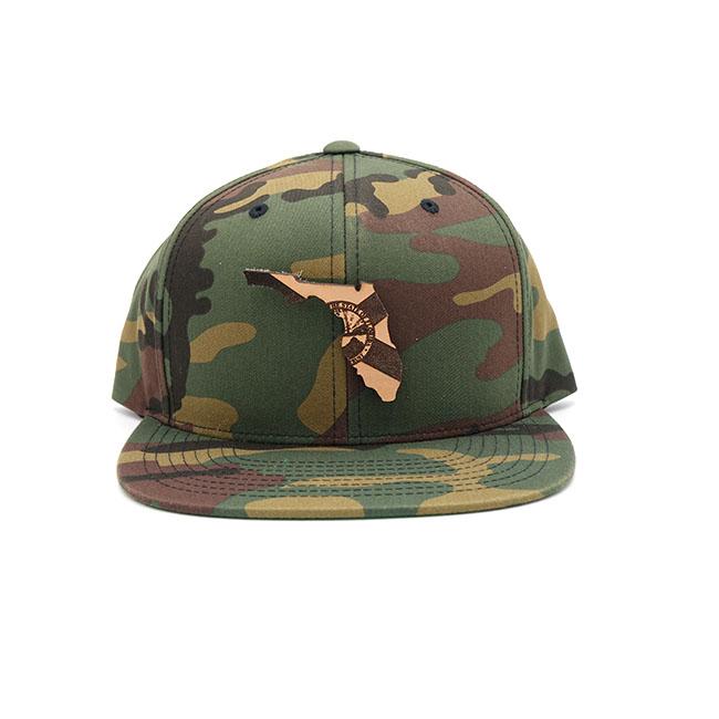 Florida Snapback Leather Patch Flatbill Branded Hat