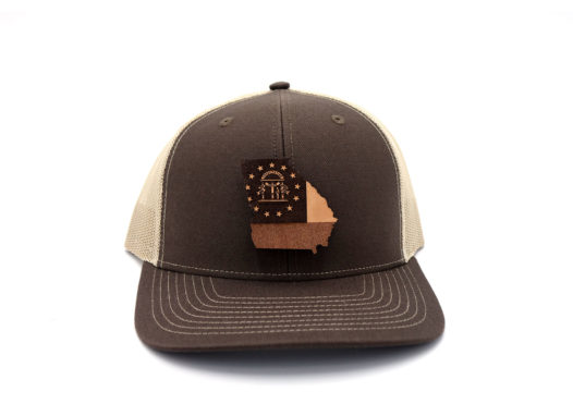 Georgia-Brown-Khaki-Trucker-State-Flag-Leather-Patch-Hat