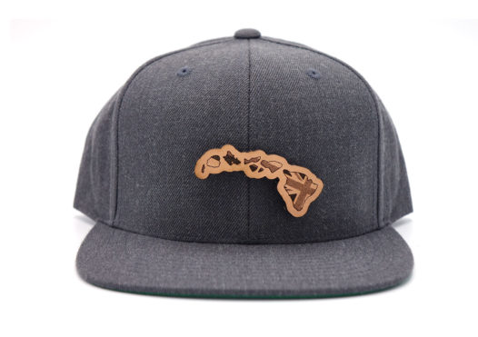 Hawaii-Dark-Heather-Flatbill-Snapback-Leather-Patch-Hat