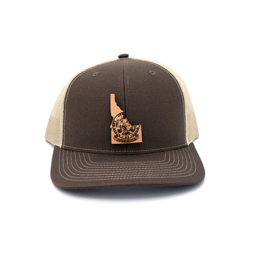 Idaho Brown Khaki Leather Patch Trucker Hat