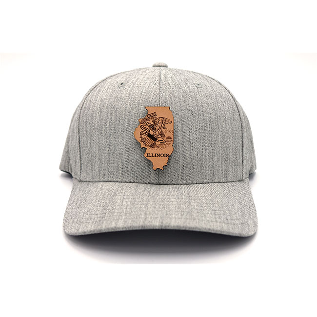 Illinois Branded Leather Patch State Pride Hat