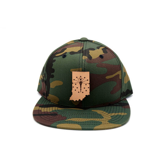 Indiana Flatbill Snapback Leather Patch Hat