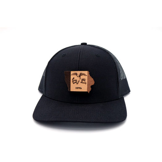 Iowa Black Trucker Branded Leather Patch Hat