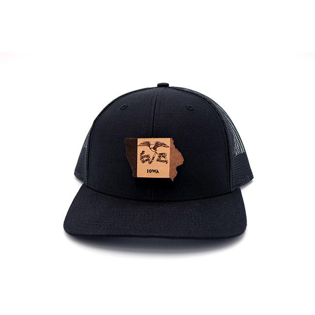 Iowa Black Trucker Branded Leather Patch Hat
