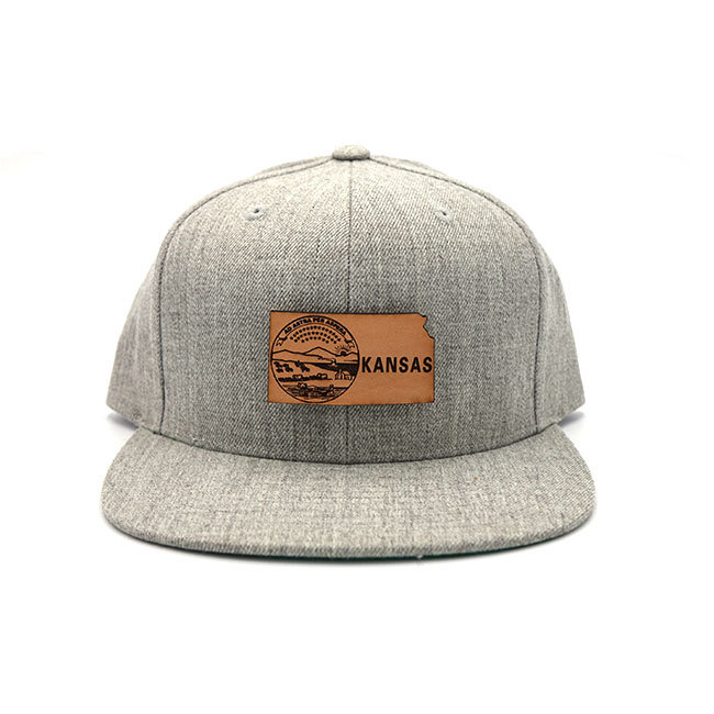 Kansas Flatbill Snapback Branded Leather Patch Three Thousand Pennies Hat
