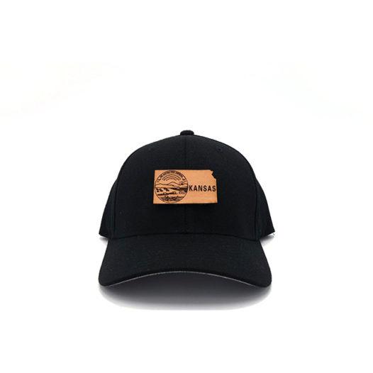 Kansas Flexfit Black Leather Patch Hat