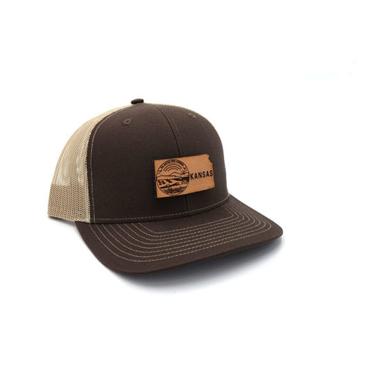 Kansas Trucker Branded Leather Patch Hat