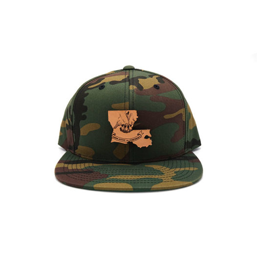Louisiana Camo Flatbill Snapback Branded Leather Patch Three Thousand Pennies Hat