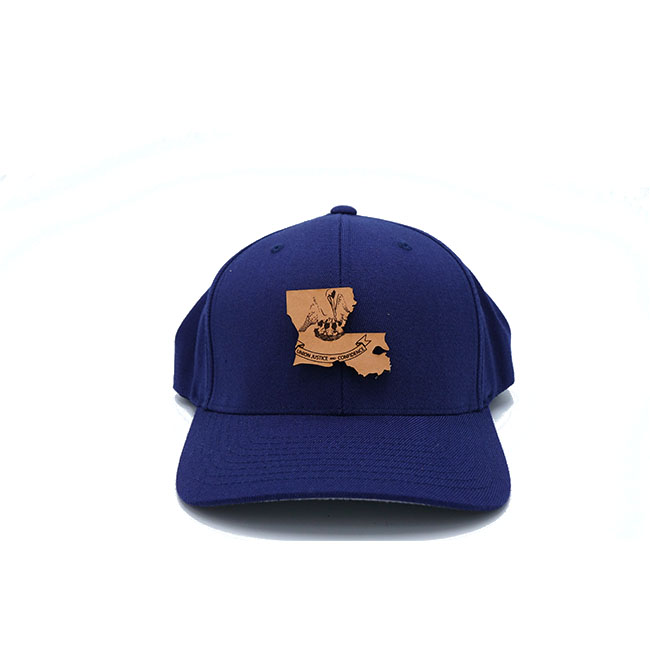 Louisiana Navy Flexfit Branded Leather Patch Three Thousand Pennies Hat