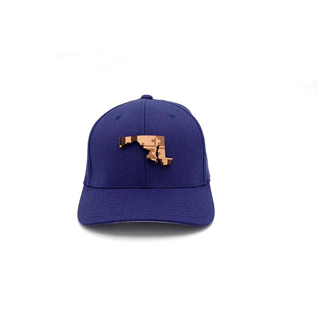 Maryland Navy Flexfit Branded Leather Hat