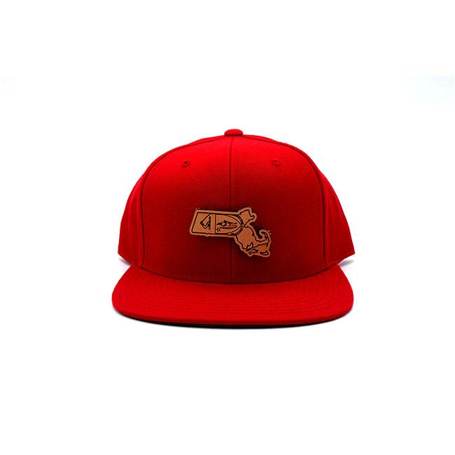 Massachusetts Flatbill Snapback Leather Patch Hat