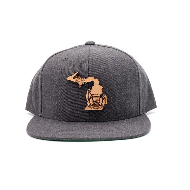 Michigan Dark Heather Flatbill Snapback Leather Patch Hat