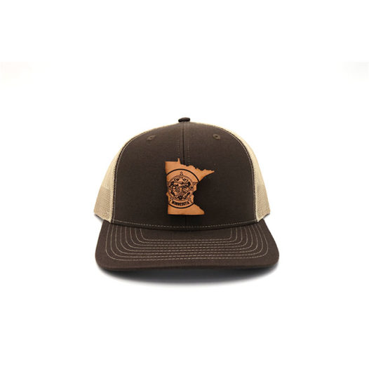 Minnesota Trucker Brown Khaki Branded Leather Patch Three Thousand Pennies Hat