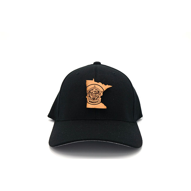 Minnesota Black Flexfit Branded Leather Patch Three Thousand Pennies Hat