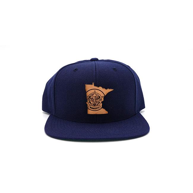 Minnesota Navy Flatbill Branded Leather Patch Hat