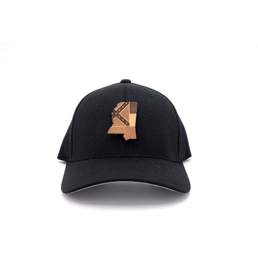 Mississippi Black Flexfit Leather Patch Hat