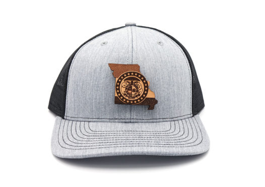 Missouri-Heather-Black-Trucker-Branded-Leather-Three-Thousand-Pennies-Hat