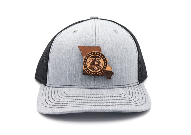 Missouri-Heather-Black-Trucker-Branded-Leather-Three-Thousand-Pennies-Hat