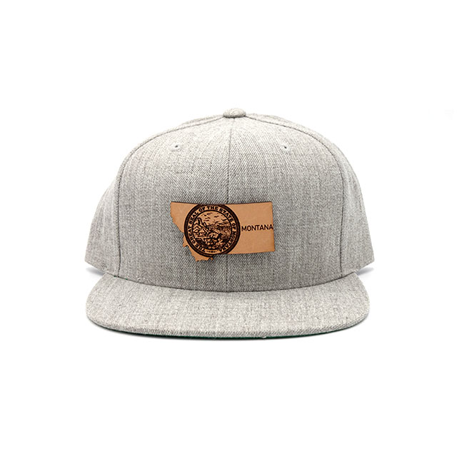 Montana Flatbill Snapback Leather Patch Hat2