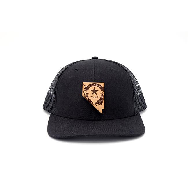 Nevada Trucker Black Snapback Branded Billed Leather Patch Hat