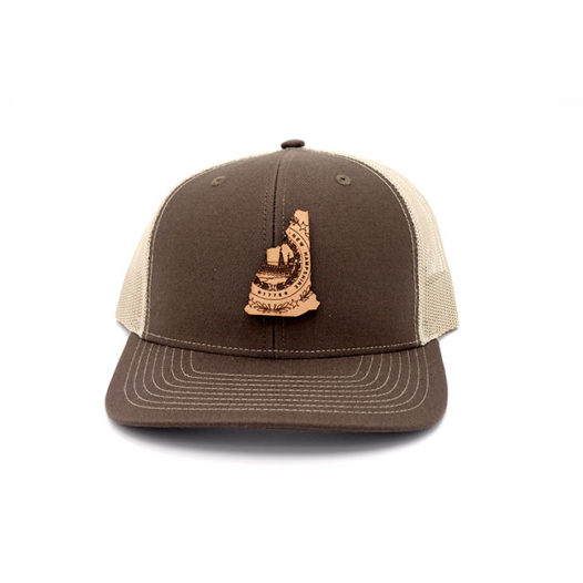 New Hampshire Trucker Brown Khaki Snapback Branded Leather Patch Three Thousand Pennies Hat