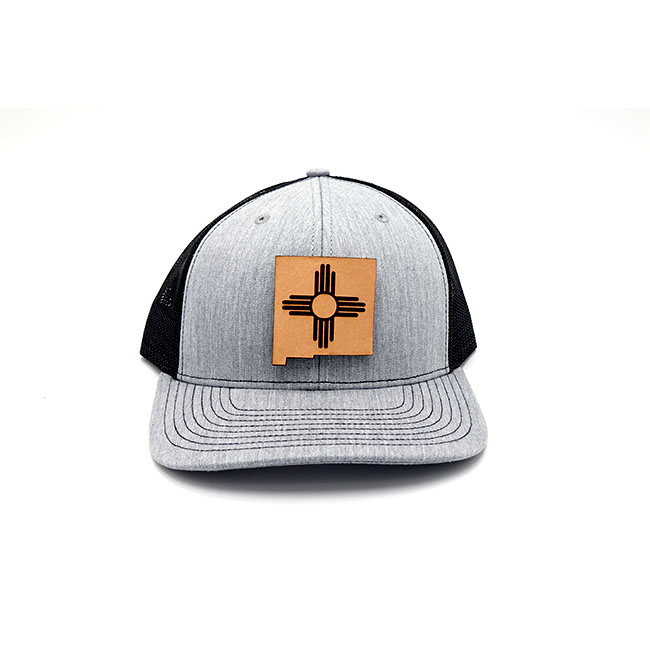 New Mexico Heather Black Trucker Leather Patch Hat