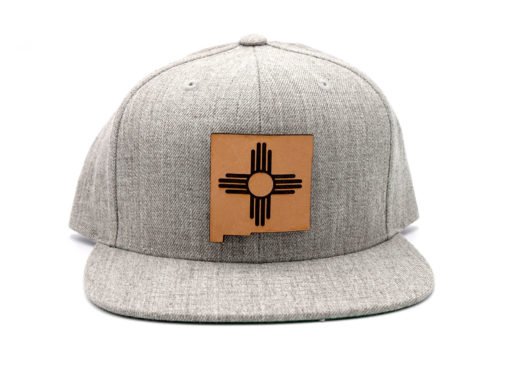 New-Mexico-Heather-Flatbill-Snapback-Custom-Leather-Patch-Hat