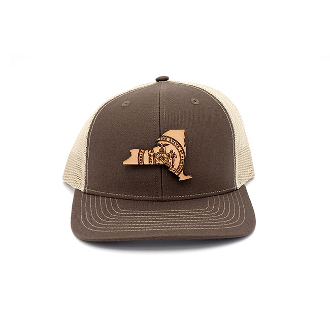 New York Trucker Brown Khaki Branded Leather Patch Three Thousand Pennies Hat
