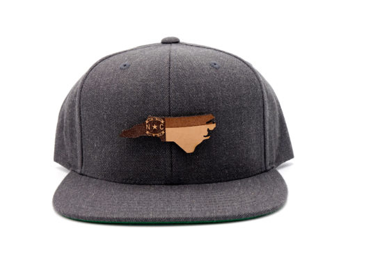 North-Carolina-Dark-Heather-Flatbill-Snapback-Branded-Leather-Patch