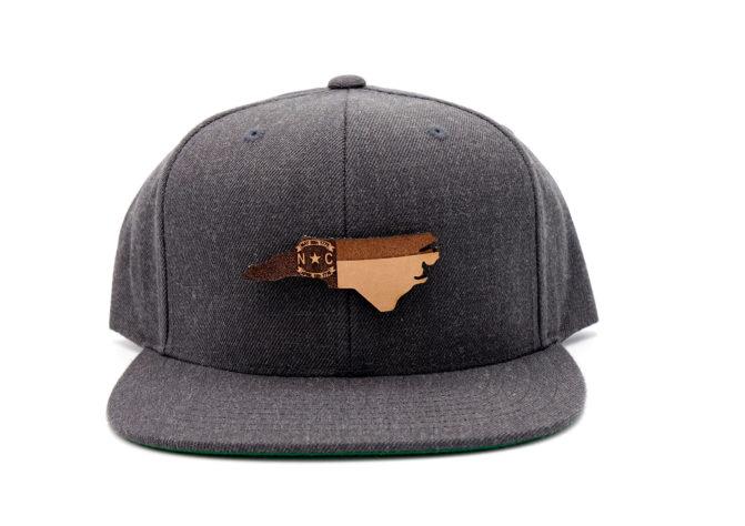 North-Carolina-Dark-Heather-Flatbill-Snapback-Branded-Leather-Patch