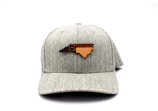 North-Carolina-Heather-Grey-Flexfit-Branded-Leather-Patch