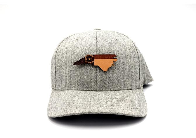 North-Carolina-Heather-Grey-Flexfit-Branded-Leather-Patch