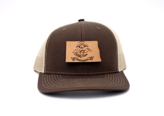 North-Dakota-Brown-Khaki-Trucker-Snapback-Leather-Patch-Hat